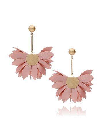 Kolczyki satynowe kwiaty różowe  KBL0435