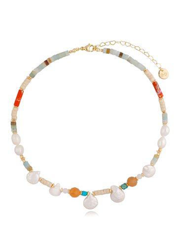 Naszyjnik kolorowy z  perłami NPA0339