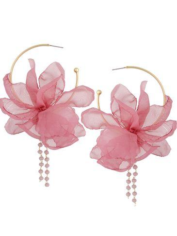 Kolczyki jedwabne kwiaty fioletowo różowe KBL0823