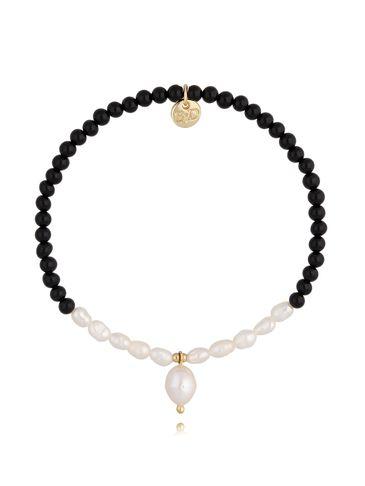 Bransoletka czarna z perłą BTW0417