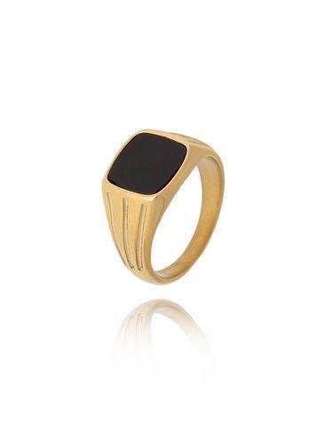 Pierścionek złoty sygnet ze stali szlachetnej PSA0129 Rozmiar 15