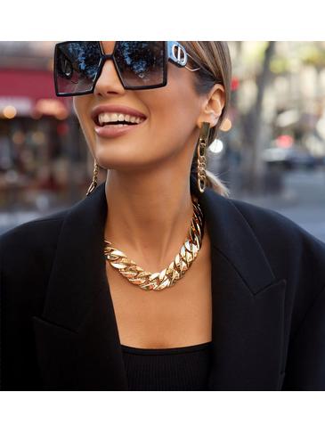 Naszyjnik szeroki łańcuch złoty Miranda NRG0364