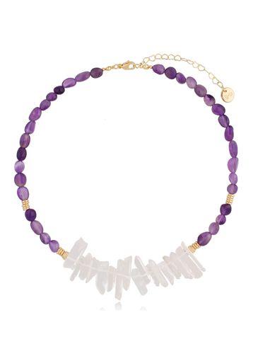Naszyjnik z ametystami i kryształami Violet Crystal NPA0412