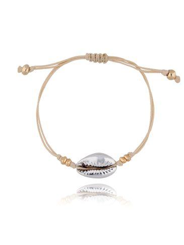 Bransoletka ze srebrną muszelką na beżowym sznurku BOV0062