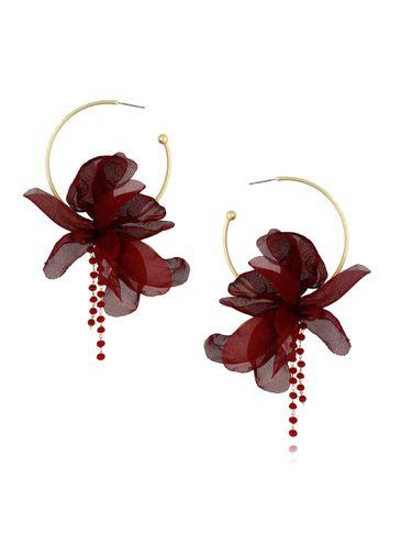 Kolczyki jedwabne kwiaty bordowe KBL0410