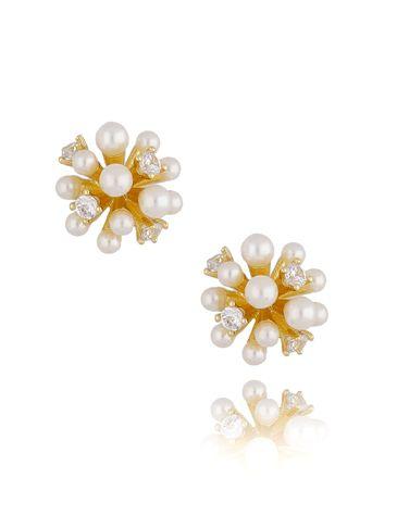 Kolczyki złote z perełkami i kryształkami KPE0036