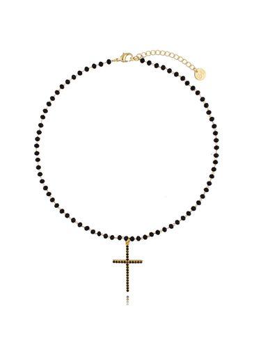 Naszyjnik złoty z kryształkami i krzyżykiem NRG0266