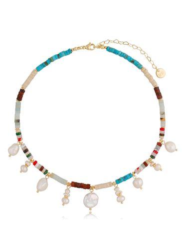 Naszyjnik z kamieniami i perłowymi zawieszkami Island NPA0378