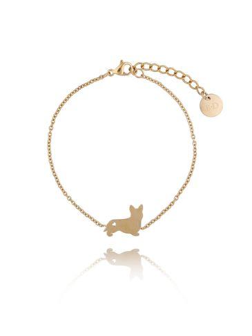 Bransoletka złota pies Sparky ze stali szlachetnej BPS0008