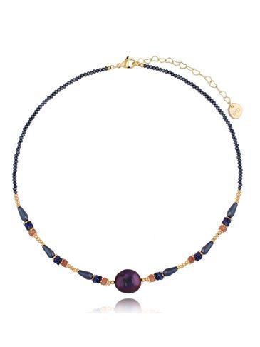 Naszyjnik z fioletową perłą i kwarcami NPA0382