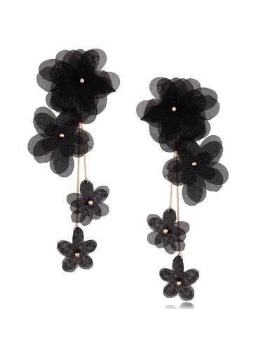 Kolczyki satynowe kwiaty  Blossom Black Primerose KBL0879