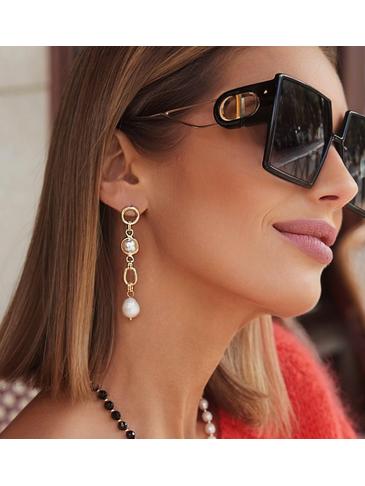 Kolczyki złote wiszące z perłami Happy Day KPE0061