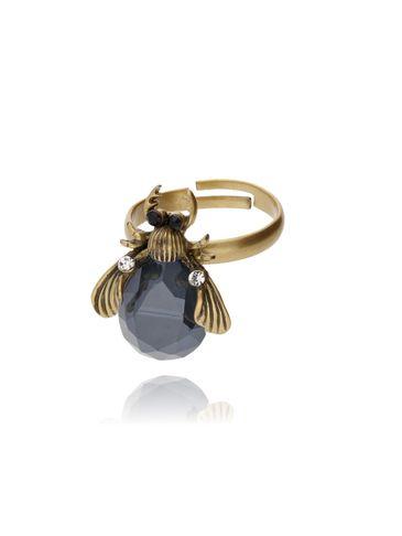 Pierścionek złoty żuk z granatowym kryształkiem i cyrkoniami PMI0061