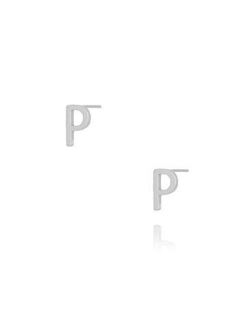 Kolczyki wkrętki z literką P srebrne KAT0022