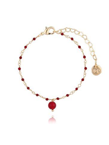 Bransoletka z kryształkami i jadeitem bordowa BOA0015