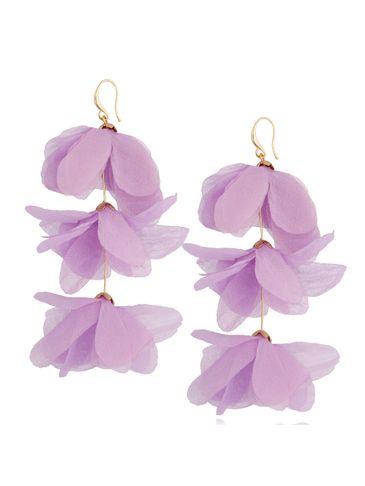 Kolczyki jedwabne kwiaty potrójne wrzosowe KBL0791