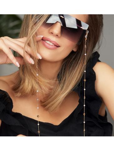 Łańcuszek do okularów złoty z gwiazdkami i perełkami NOA0024