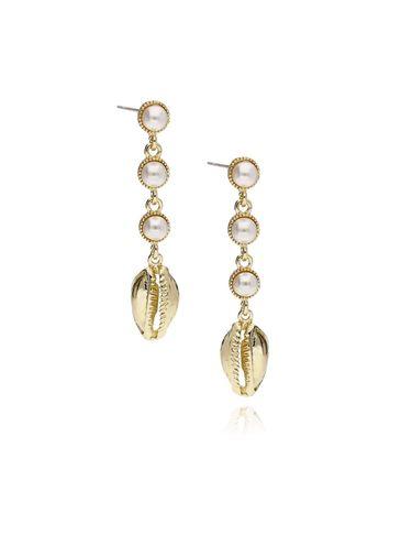 Kolczyki złote z muszelką i perłą KOV0026