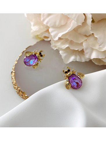 Kolczyki złote żuki z fioletowymi kryształkami KMI0123