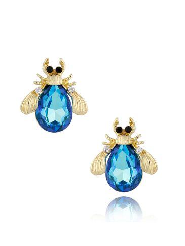 Kolczyki żuki z niebieski kryształami KMI0153