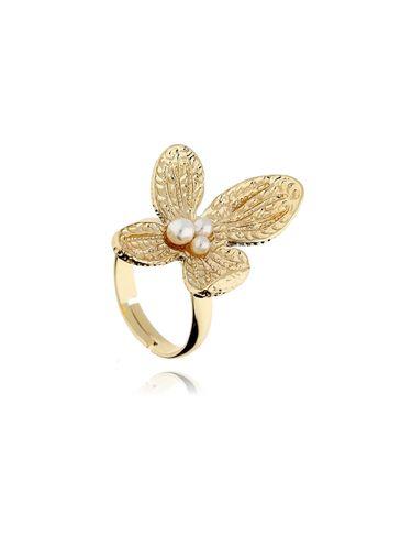Pierścionek złoty kwiat z perełkami PPE0021 rozmiar 17