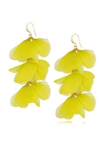 Kolczyki jedwabne kwiaty potrójne żółte KBL0792