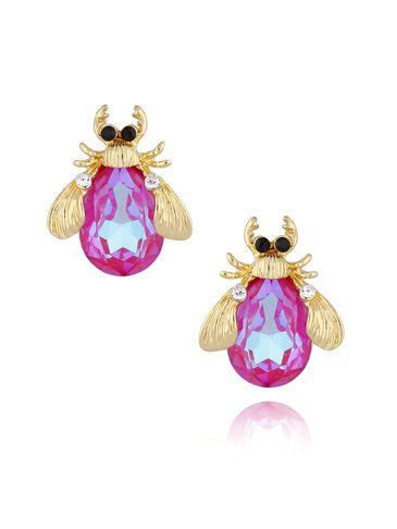Kolczyki złote żuki z różowymi  kryształkami KMI0122