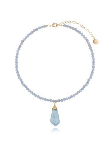Naszyjnik z niebieskim kwarcem  NPA0007