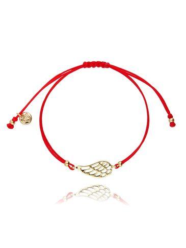 Bransoletka na sznurku czerwona - złote skrzydełko BGL0412