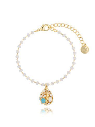 """Bransoletka złota z mlecznymi kryształkami i """"jajkiem Faberge"""" BRG0192"""