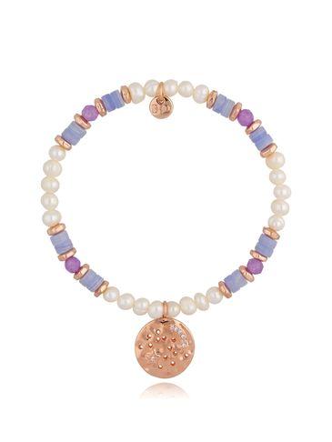 Bransoletka z kwarcami i perłami fioletowa BSC0806