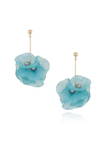 Kolczyki kwiaty jedwabne turkusowe KBL0366