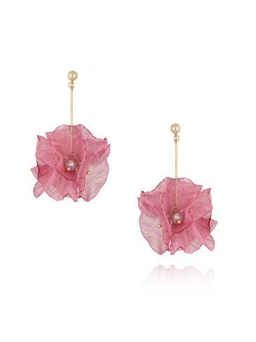 Kolczyki kwiaty jedwabne różowe KBL0362