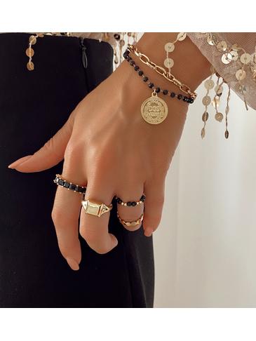 Bransoletka złota z monetą i łańcuchem BRG0128