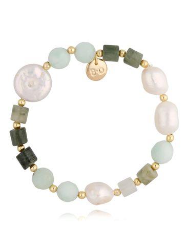 Bransoletka złota z jadeitami i perłami BPA0078