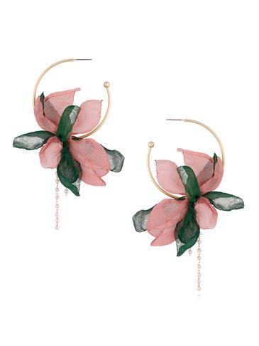 Kolczyki jedwabne kwiaty różowo zielone  KBL0378