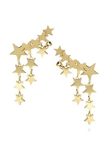 Kolczyki z nausznicą złote gwiazdki KRG0461