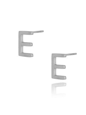 Kolczyki wkrętki srebrne z literką  E KAT0050