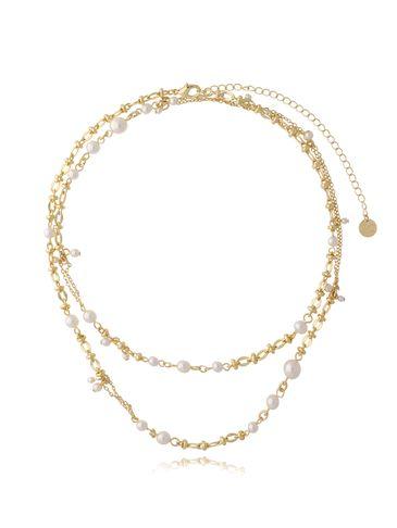 Naszyjnik złoty długi z perłami NPE0053