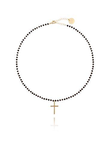 Naszyjnik z łańcuszkiem z czarnymi kryształkami i złotym krzyżem średni NRG0140
