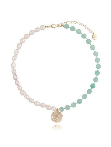Naszyjnik zielony z perłami NPA0092