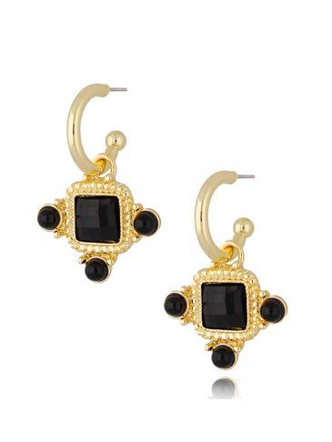 Kolczyki kryształowe wiszące czarne Renesans KTO0034