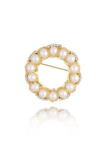 Broszka złota z perłami i kryształkami Classic Pearl BRPE0008