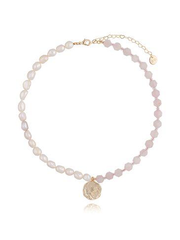 Naszyjnik różowy z perłami NPA0097