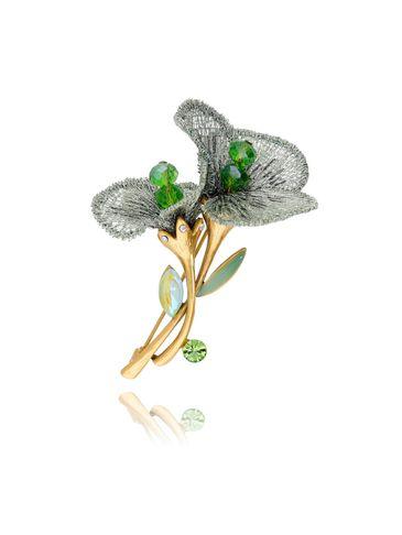 Broszka zielone kwiaty z kryształkami BRLI0001