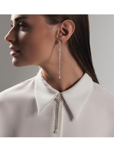 Kolczyki długie srebrne z transparentnymi kryształkami KSS0821