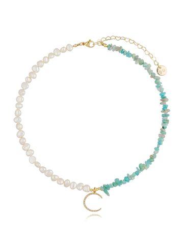 Naszyjnik z perłami i amazonitami NPA0177