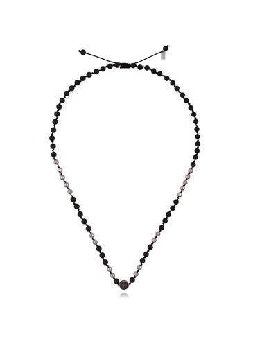 Naszyjnik męski z czarnym agatem - stal szlachetna NMITC0003