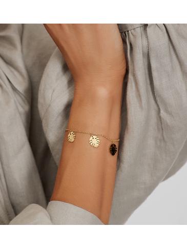 Bransoletka złota ze stali szlachetnej z liśćmi monstery BSA0134