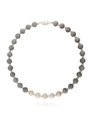 Naszyjnik szary z agatem pasiastym i masą perłową NLD0001